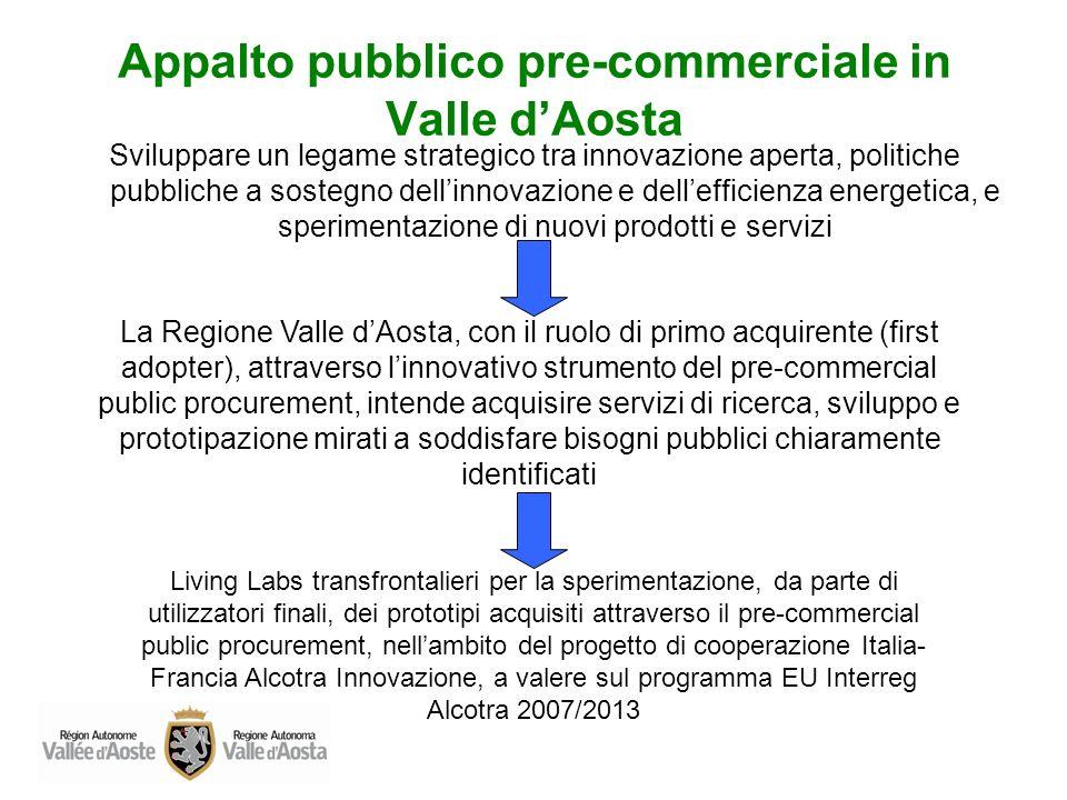 Appalto pubblico pre-commerciale in Valle dAosta La pubblica amministrazione, assumendo il ruolo di primo acquirente di beni e servizi innovativi, può favorire la domanda e migliorare la qualità e l efficacia dei servizi pubblici.