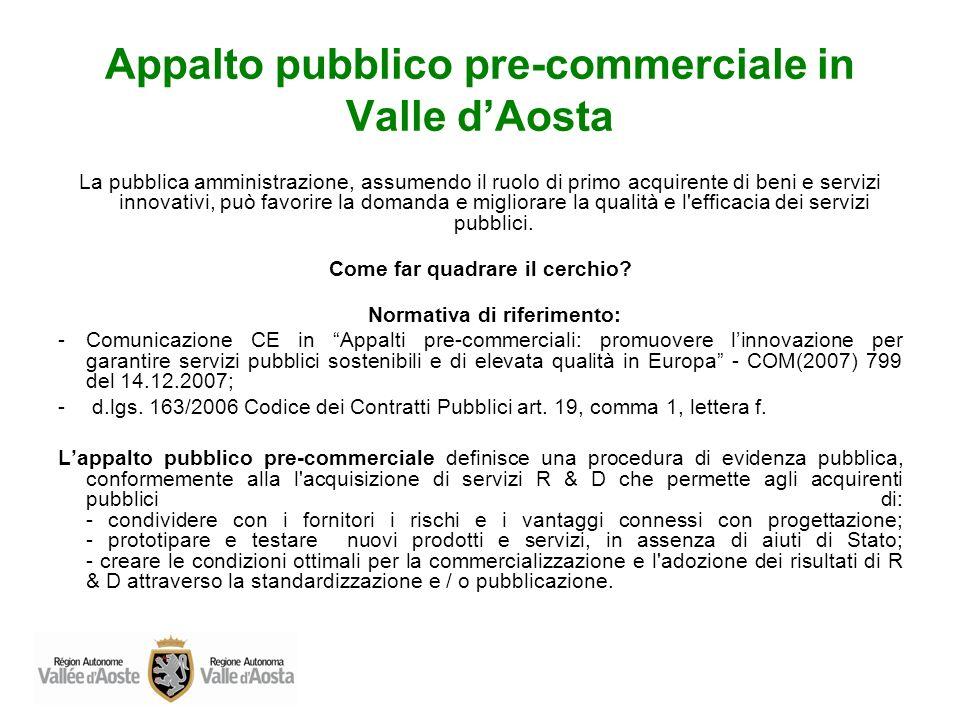 Appalto pubblico pre-commerciale in Valle dAosta La pubblica amministrazione, assumendo il ruolo di primo acquirente di beni e servizi innovativi, può