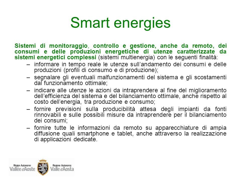 Smart energies Sistemi di monitoraggio, controllo e gestione, anche da remoto, dei consumi e delle produzioni energetiche di utenze caratterizzate da