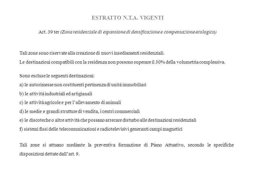 ESTRATTO N.T.A. VIGENTI Art. 39 ter (Zona residenziale di espansione di densificazione e compensazione ecologica) Tali zone sono riservate alla creazi