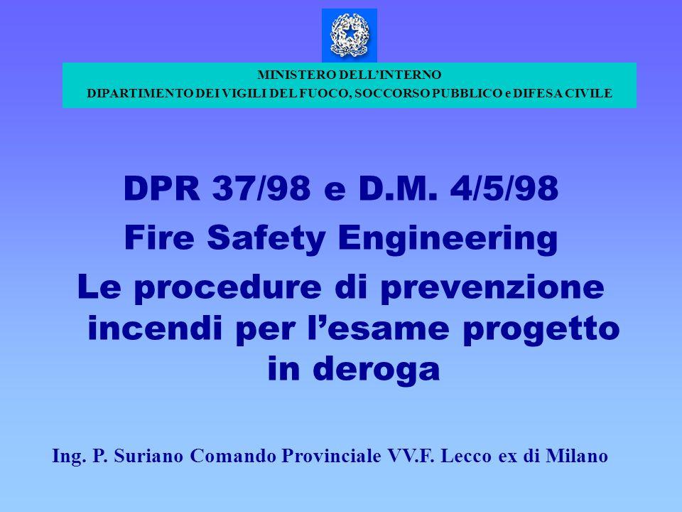 DPR 37/98 e D.M. 4/5/98 Fire Safety Engineering Le procedure di prevenzione incendi per lesame progetto in deroga MINISTERO DELLINTERNO DIPARTIMENTO D