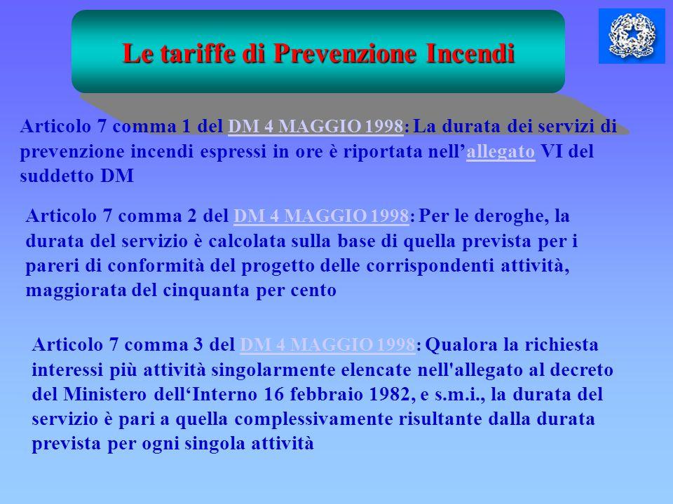 Le tariffe di Prevenzione Incendi Articolo 7 comma 1 del DM 4 MAGGIO 1998: La durata dei servizi di prevenzione incendi espressi in ore è riportata ne