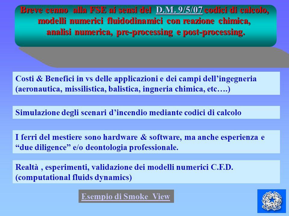 Breve cenno alla FSE ai sensi del D.M. 9/5/07 codici di calcolo, D.M. 9/5/07D.M. 9/5/07 modelli numerici fluidodinamici con reazione chimica, analisi