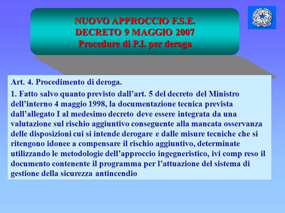 NUOVO APPROCCIO F.S.E. DECRETO 9 MAGGIO 2007 Procedure di P.I. per deroga Art. 4. Procedimento di deroga. 1. Fatto salvo quanto previsto dallart. 5 de