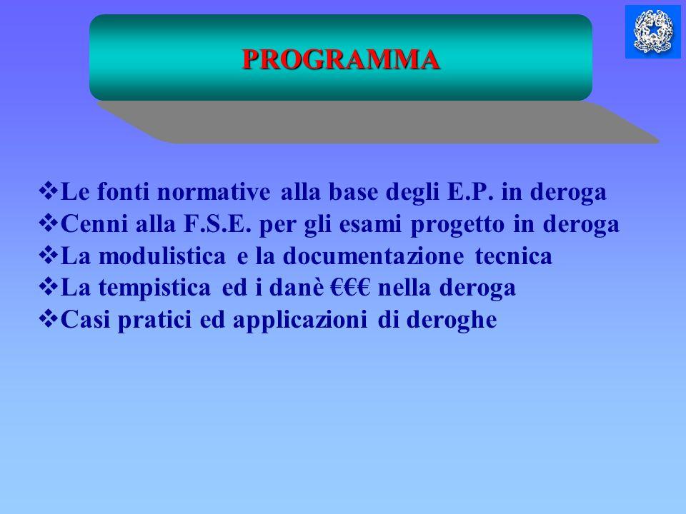 Le fonti normative alla base degli E.P. in deroga Cenni alla F.S.E. per gli esami progetto in deroga La modulistica e la documentazione tecnica La tem