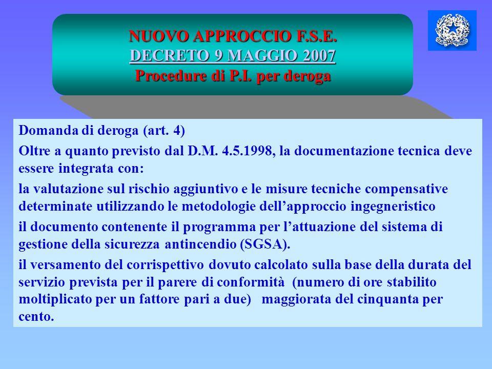 NUOVO APPROCCIO F.S.E. DECRETO 9 MAGGIO 2007 DECRETO 9 MAGGIO 2007 Procedure di P.I. per deroga Domanda di deroga (art. 4) Oltre a quanto previsto dal