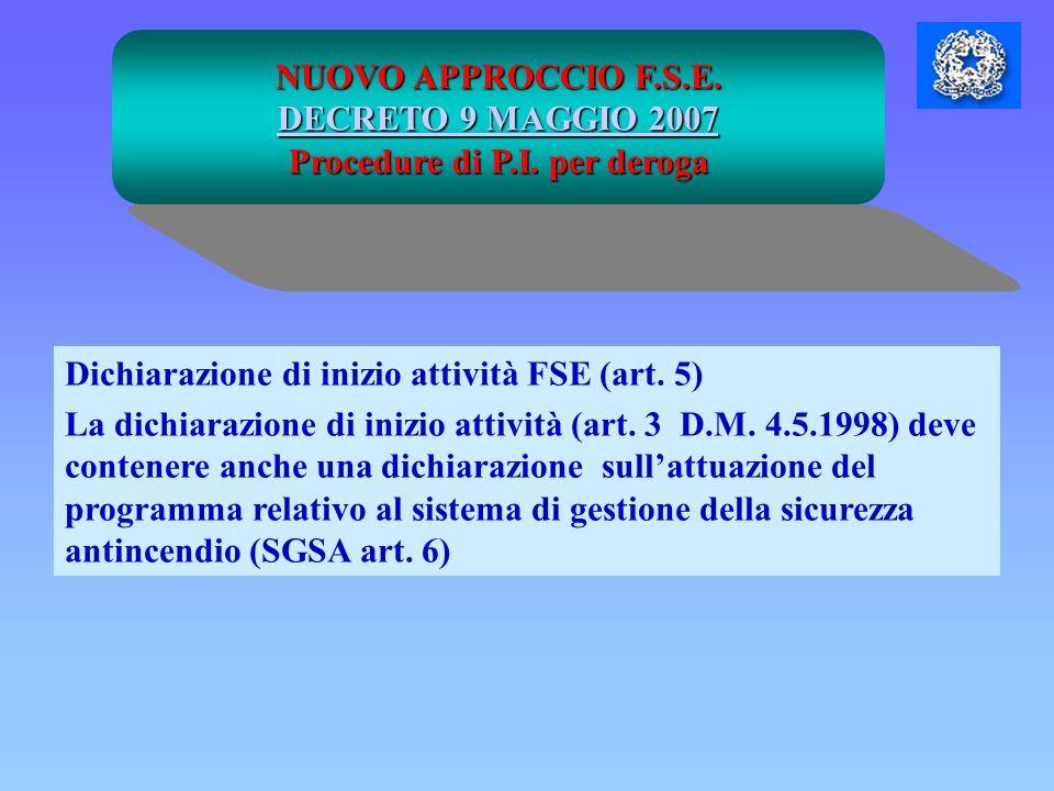NUOVO APPROCCIO F.S.E. DECRETO 9 MAGGIO 2007 DECRETO 9 MAGGIO 2007 Procedure di P.I. per deroga Dichiarazione di inizio attività FSE (art. 5) La dichi