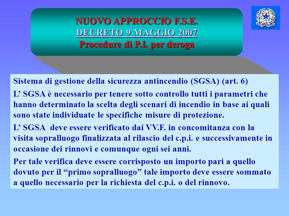 NUOVO APPROCCIO F.S.E. DECRETO 9 MAGGIO 2007 DECRETO 9 MAGGIO 2007 Procedure di P.I. per deroga Sistema di gestione della sicurezza antincendio (SGSA)