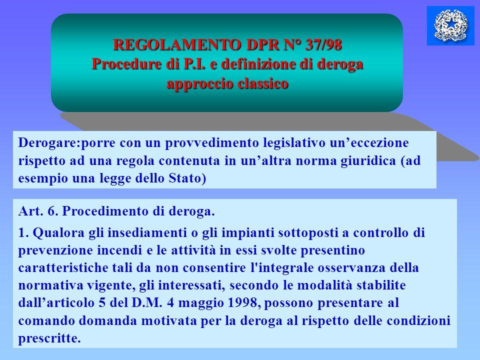 REGOLAMENTO DPR N° 37/98 Procedure di P.I. e definizione di deroga approccio classico Art. 6. Procedimento di deroga. 1. Qualora gli insediamenti o gl