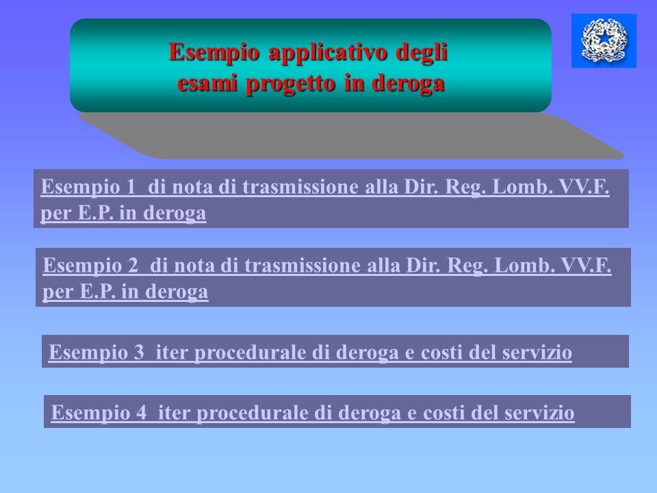 Esempio applicativo degli esami progetto in deroga Esempio 3 iter procedurale di deroga e costi del servizio Esempio 1 di nota di trasmissione alla Di