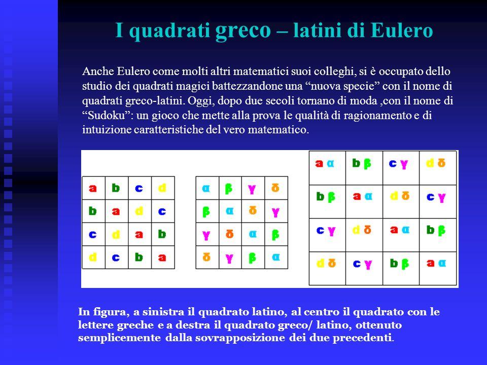 I quadrati greco – latini di Eulero In figura, a sinistra il quadrato latino, al centro il quadrato con le lettere greche e a destra il quadrato greco