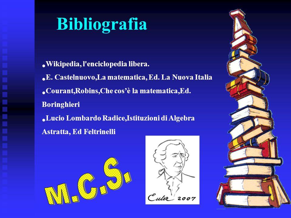 Bibliografia Wikipedia, l'enciclopedia libera. E. Castelnuovo,La matematica, Ed. La Nuova Italia Courant,Robins,Che cosè la matematica,Ed. Boringhieri