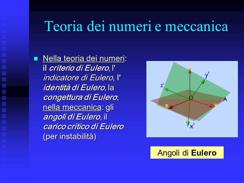 Teoria dei numeri e meccanica Nella teoria dei numeri: il criterio di Eulero, l' indicatore di Eulero, l' identità di Eulero, la congettura di Eulero;