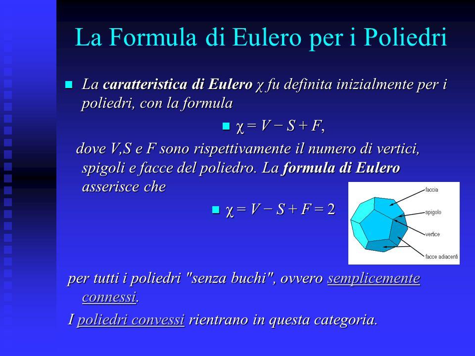 La Formula di Eulero per i Poliedri La caratteristica di Eulero χ fu definita inizialmente per i poliedri, con la formula La caratteristica di Eulero
