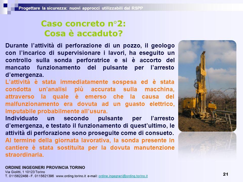 21 Progettare la sicurezza: nuovi approcci utilizzabili dal RSPP Durante lattività di perforazione di un pozzo, il geologo con lincarico di supervisio