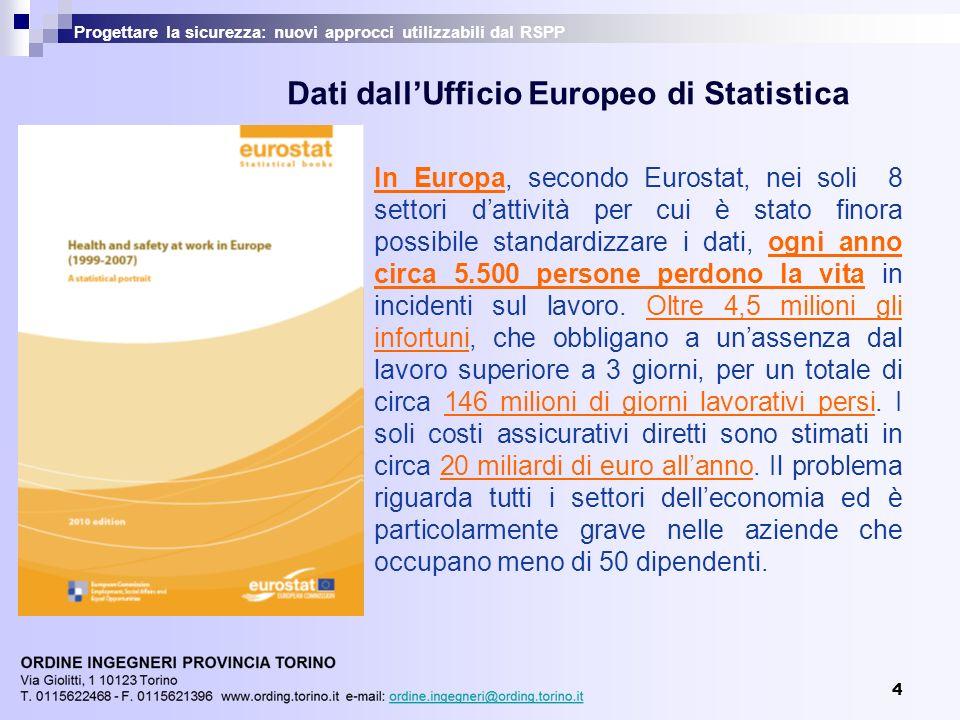 4 Progettare la sicurezza: nuovi approcci utilizzabili dal RSPP In Europa, secondo Eurostat, nei soli 8 settori dattività per cui è stato finora possi