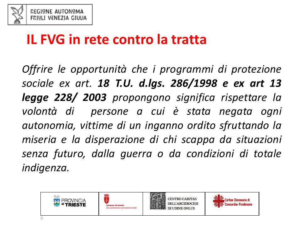 IL FVG in rete contro la tratta: integrazione sociale delle vittime art.
