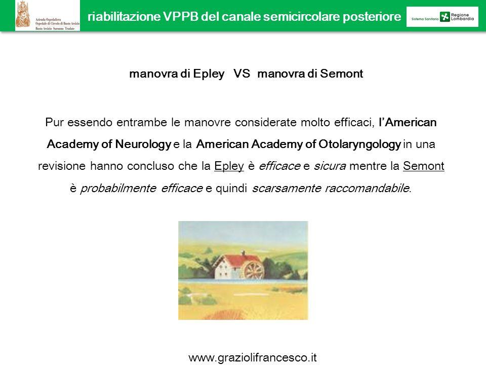 manovra di Epley VS manovra di Semont Pur essendo entrambe le manovre considerate molto efficaci, lAmerican Academy of Neurology e la American Academy