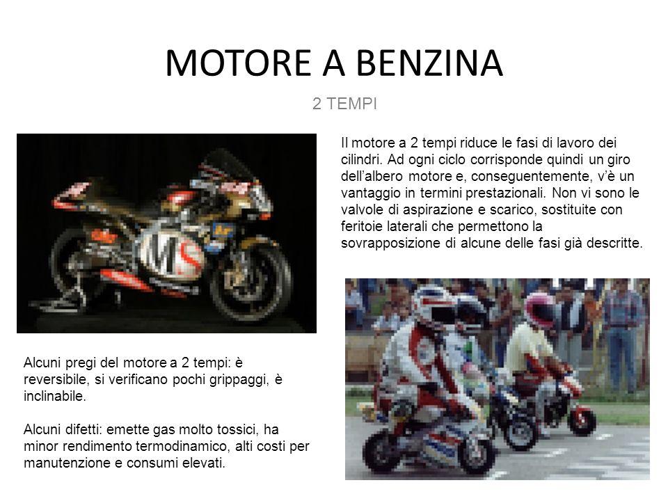MOTORE A BENZINA 2 TEMPI Il motore a 2 tempi riduce le fasi di lavoro dei cilindri. Ad ogni ciclo corrisponde quindi un giro dellalbero motore e, cons