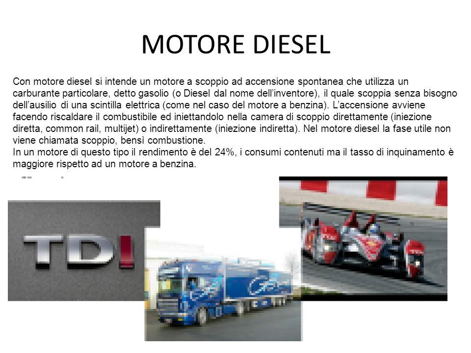 MOTORE DIESEL Con motore diesel si intende un motore a scoppio ad accensione spontanea che utilizza un carburante particolare, detto gasolio (o Diesel