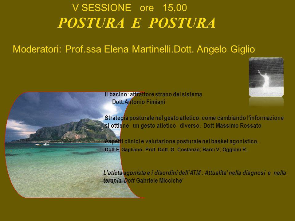 V SESSIONE ore 15,00 POSTURA E POSTURA Moderatori: Prof.ssa Elena Martinelli.Dott. Angelo Giglio Il bacino: attrattore strano del sistema Dott.Antonio
