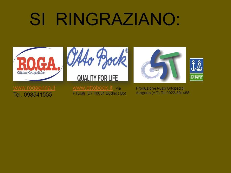 SI RINGRAZIANO: Produzione Ausili Ortopedici Aragona (AG) Tel.0922-591468 www.rogaenna.it Tel. 093541555 www.ottobock.itwww.ottobock.it via F.Turati,5