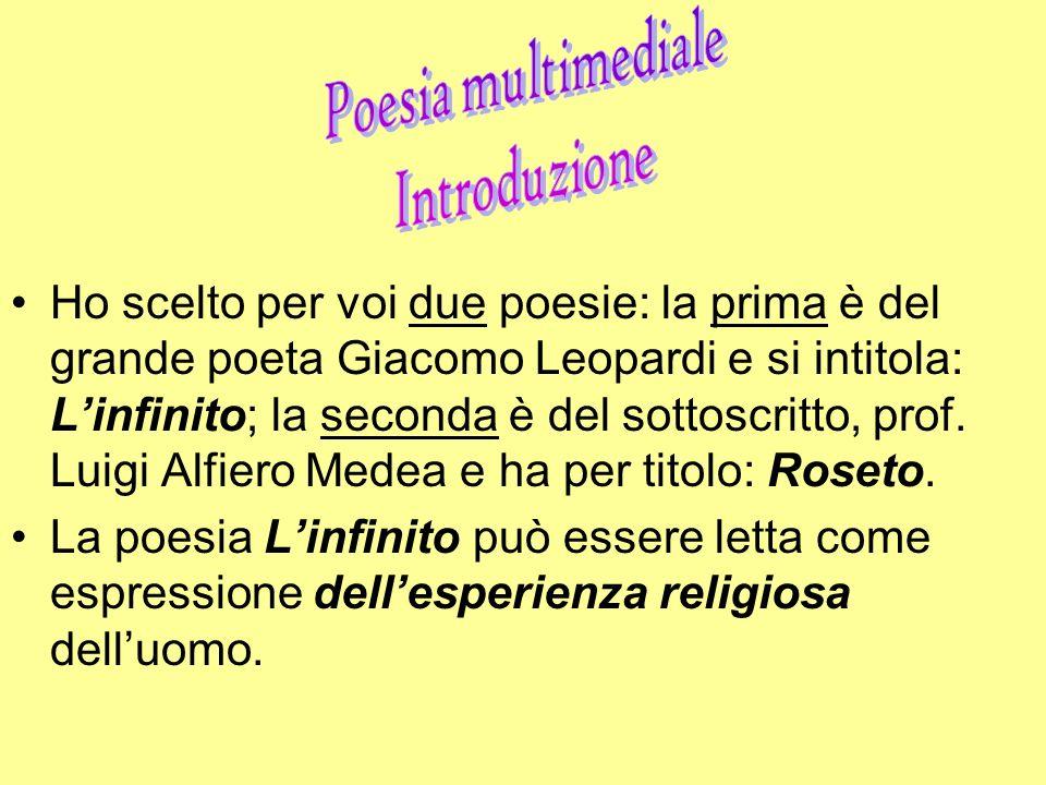 Ho scelto per voi due poesie: la prima è del grande poeta Giacomo Leopardi e si intitola: Linfinito; la seconda è del sottoscritto, prof. Luigi Alfier