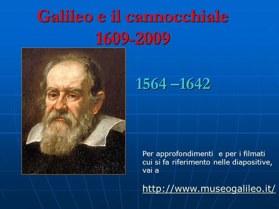 Galileo e il cannocchiale 1609-2009 Nasce a Pisa nel 1564 Nasce a Pisa nel 1564 Inizia gli studi di medicina (senza laurearsi) Inizia gli studi di medicina (senza laurearsi) Intraprende studi di fisica e matematica Intraprende studi di fisica e matematica Insegna matematiche a Pisa (1589-1592) Insegna matematiche a Pisa (1589-1592) Insegna matematiche a Padova (1592-1610) Insegna matematiche a Padova (1592-1610) È a Firenze come filosofo e matematico del Granduca È a Firenze come filosofo e matematico del Granduca Sostiene la teoria copernicana, suffragata dalle sue scoperte Sostiene la teoria copernicana, suffragata dalle sue scoperte Accusato di voler sovvertire le Sacre Scritture e per questo condannato come eretico dalla Chiesa, è costretto allabiura Accusato di voler sovvertire le Sacre Scritture e per questo condannato come eretico dalla Chiesa, è costretto allabiura In esilio ad Arcetri, muore nel 1642.
