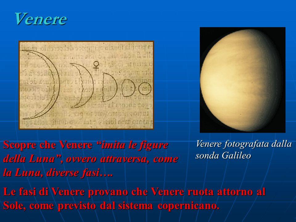 Venere Venere fotografata dalla sonda Galileo Scopre che Venere imita le figure della Luna, ovvero attraversa, come la Luna, diverse fasi…. Le fasi di