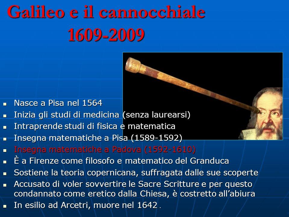 Galileo e il cannocchiale 1609-2009 Nasce a Pisa nel 1564 Nasce a Pisa nel 1564 Inizia gli studi di medicina (senza laurearsi) Inizia gli studi di med