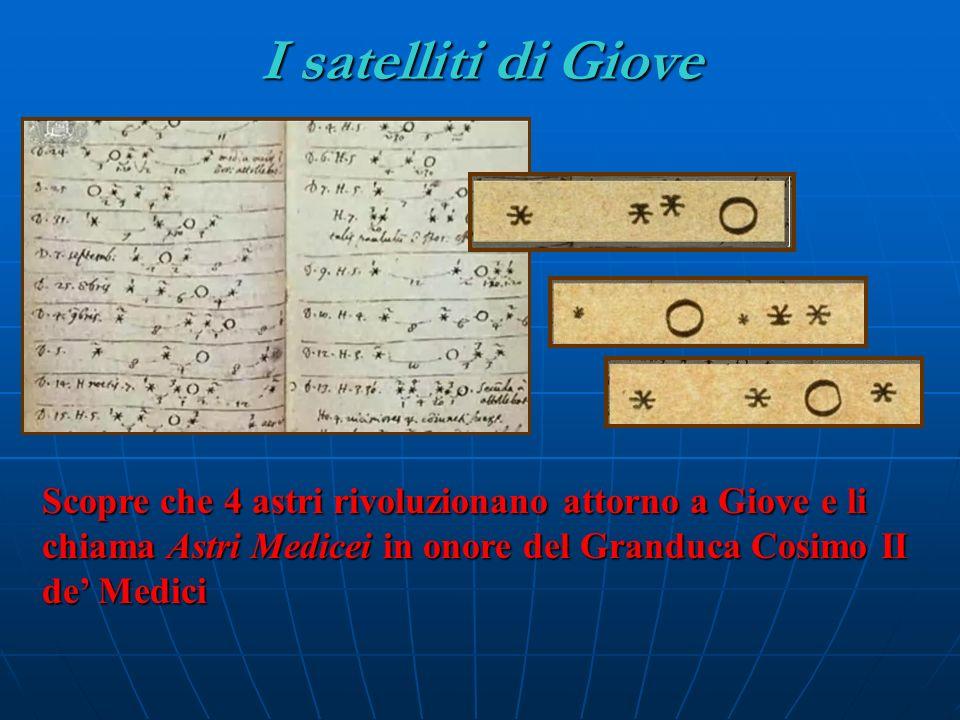 I satelliti di Giove Scopre che 4 astri rivoluzionano attorno a Giove e li chiama Astri Medicei in onore del Granduca Cosimo II de Medici