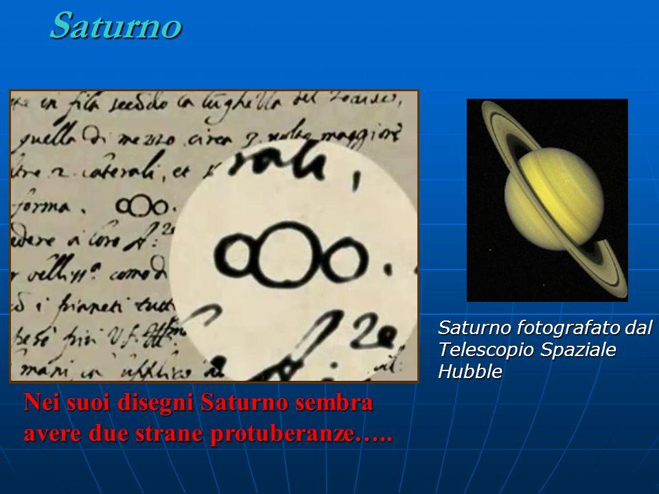 Saturno Nei suoi disegni Saturno sembra avere due strane protuberanze….. Saturno fotografato dal Telescopio Spaziale Hubble
