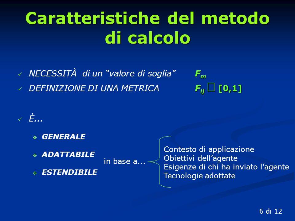 Caratteristiche del metodo di calcolo NECESSITÀ di un valore di sogliaFm DEFINIZIONE DI UNA METRICAFij [0,1] È...