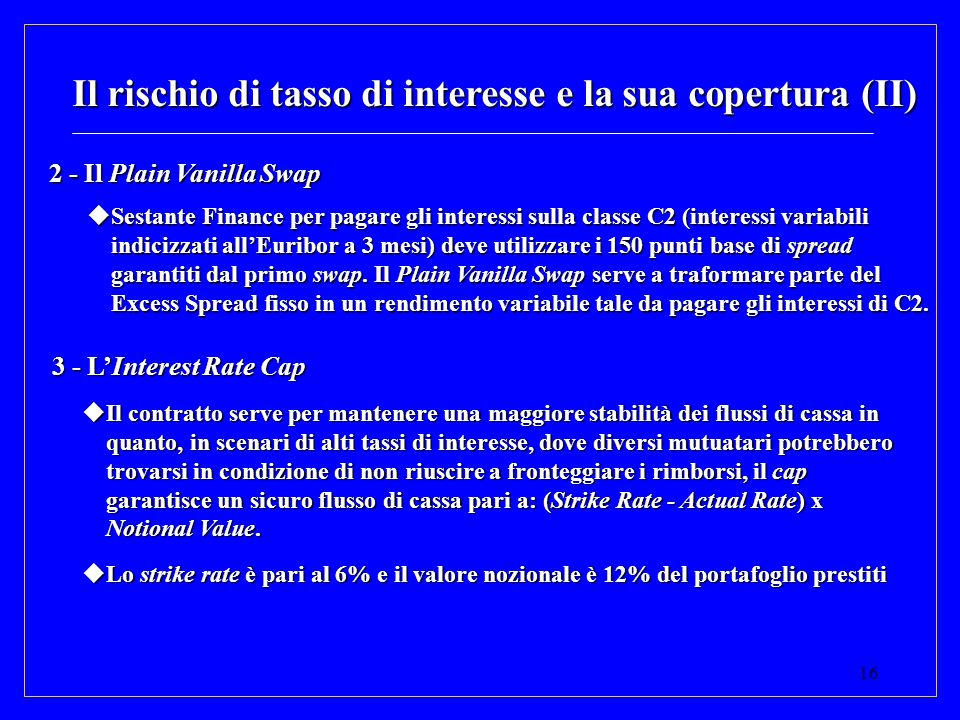 16 Il rischio di tasso di interesse e la sua copertura (II) 2 - Il Plain Vanilla Swap Sestante Finance per pagare gli interessi sulla classe C2 (inter