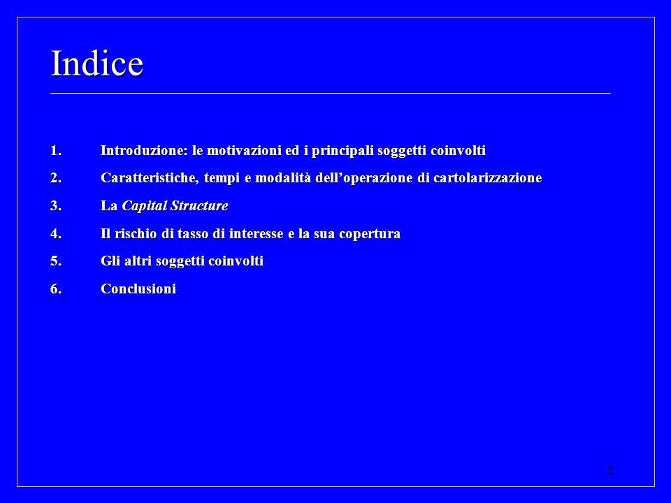 2 Indice 1.Introduzione: le motivazioni ed i principali soggetti coinvolti 2.Caratteristiche, tempi e modalità delloperazione di cartolarizzazione 3.L