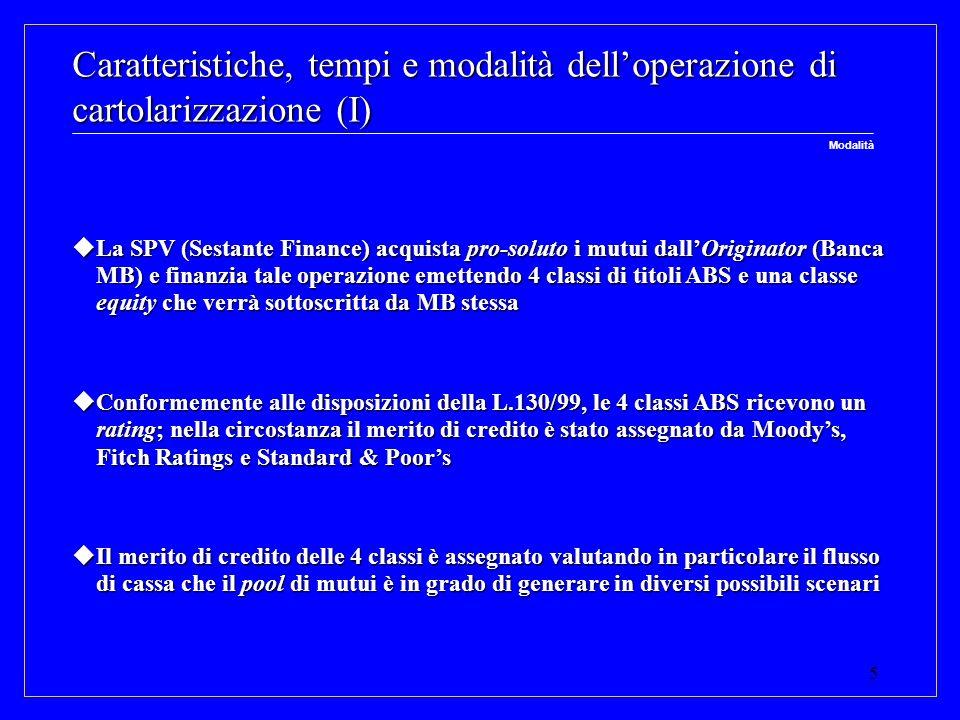 5 Caratteristiche, tempi e modalità delloperazione di cartolarizzazione (I) La SPV (Sestante Finance) acquista pro-soluto i mutui dallOriginator (Banc