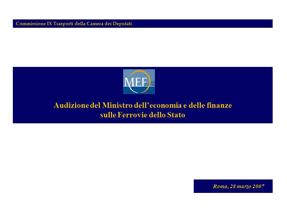 Audizione del Ministro delleconomia e delle finanze sulle Ferrovie dello Stato Roma, 28 marzo 2007 Commissione IX Trasporti della Camera dei Deputati