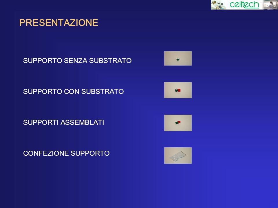 PRESENTAZIONE SUPPORTO SENZA SUBSTRATO SUPPORTO CON SUBSTRATO SUPPORTI ASSEMBLATI CONFEZIONE SUPPORTO