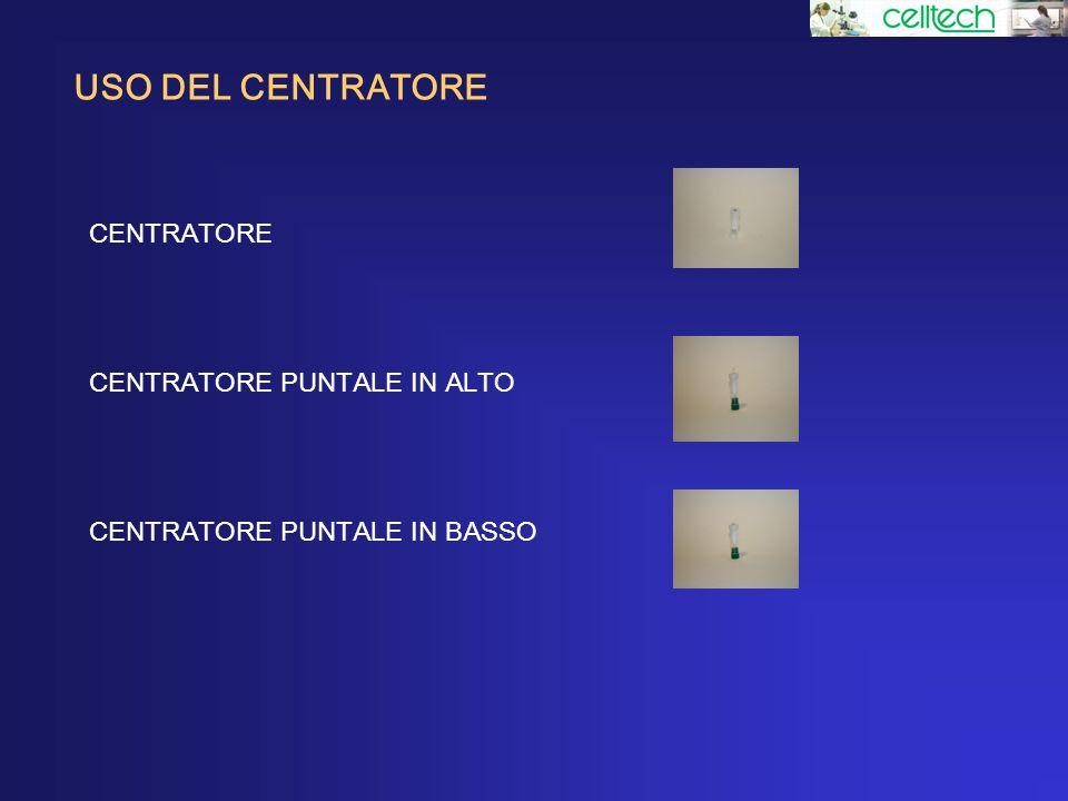 USO DEL CENTRATORE CENTRATORE CENTRATORE PUNTALE IN ALTO CENTRATORE PUNTALE IN BASSO