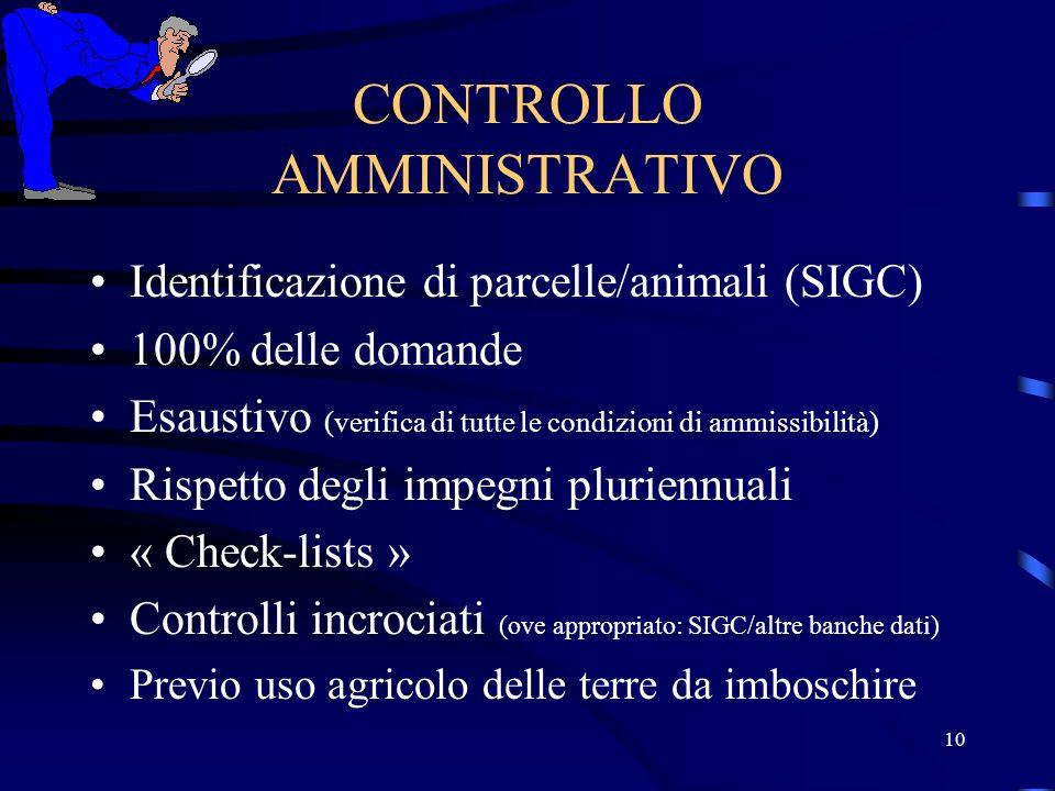 9 CONTROLLI (Articoli 46, 47 e 48 del Reg.1750/99) AMMINISTRATIVIIN LOCO