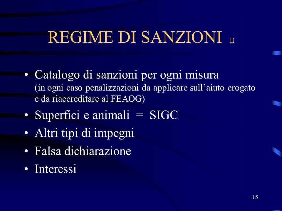 14 REGIME DI SANZIONI I (Articolo 48 del Reg. 1750/99) Effettivo Proporzionato Dissuasivo