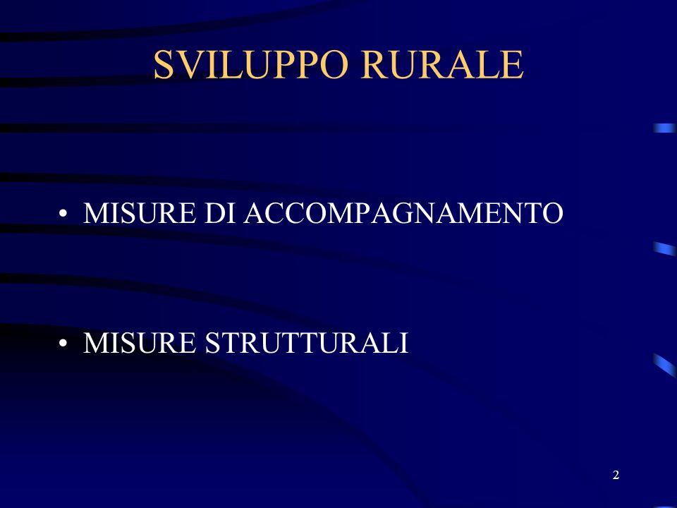 2 SVILUPPO RURALE MISURE DI ACCOMPAGNAMENTO MISURE STRUTTURALI