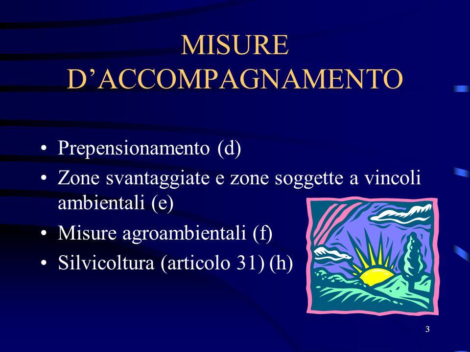 3 MISURE DACCOMPAGNAMENTO Prepensionamento (d) Zone svantaggiate e zone soggette a vincoli ambientali (e) Misure agroambientali (f) Silvicoltura (articolo 31) (h)
