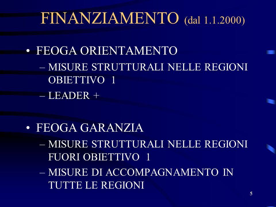 5 FINANZIAMENTO (dal 1.1.2000) FEOGA ORIENTAMENTO –MISURE STRUTTURALI NELLE REGIONI OBIETTIVO 1 –LEADER + FEOGA GARANZIA –MISURE STRUTTURALI NELLE REGIONI FUORI OBIETTIVO 1 –MISURE DI ACCOMPAGNAMENTO IN TUTTE LE REGIONI