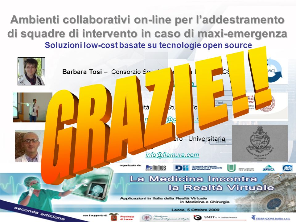Ambienti collaborativi on-line per laddestramento di squadre di intervento in caso di maxi-emergenza Ambienti collaborativi on-line per laddestramento