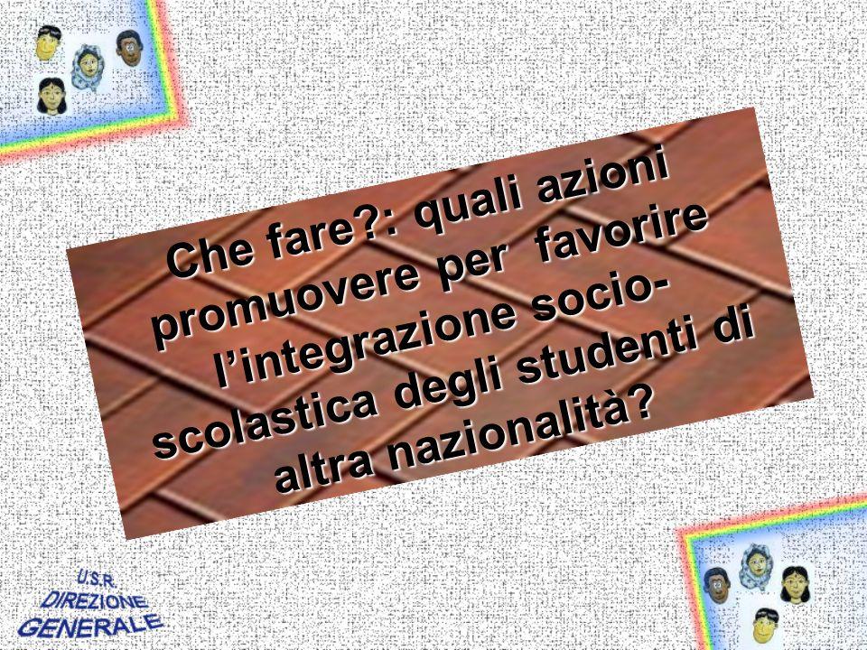 Che fare : quali azioni promuovere per favorire lintegrazione socio- scolastica degli studenti di altra nazionalità