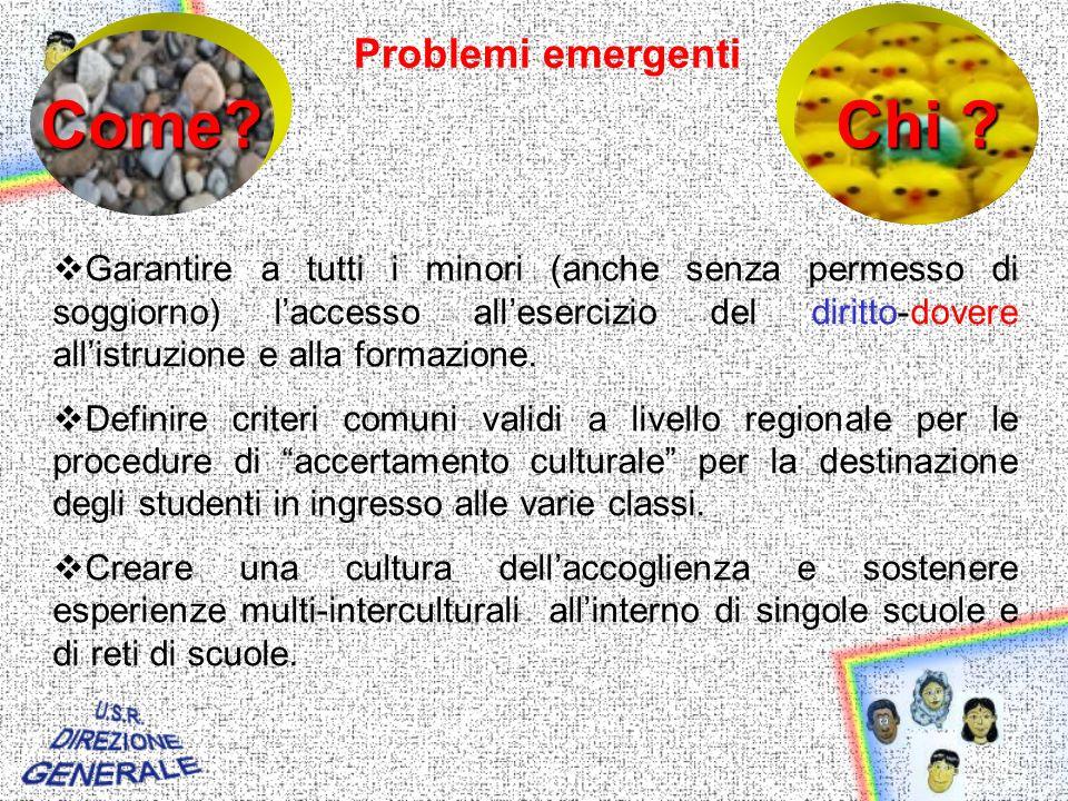 Problemi emergenti Garantire a tutti i minori (anche senza permesso di soggiorno) laccesso allesercizio del diritto-dovere allistruzione e alla formazione.
