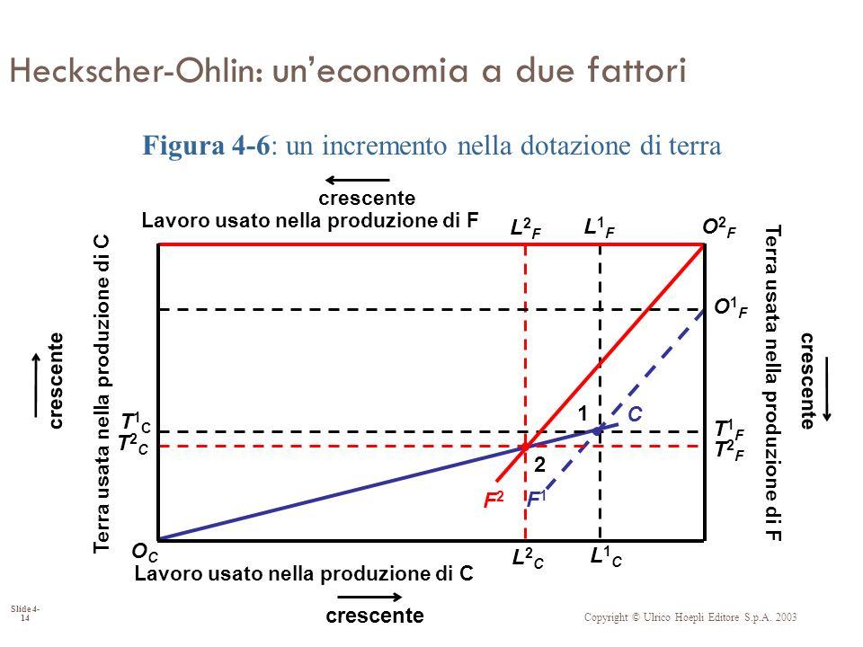 Copyright © Ulrico Hoepli Editore S.p.A. 2003 Slide 4- 14 Heckscher-Ohlin: uneconomia a due fattori C L2FL2F L2CL2C T1FT1F T1CT1C F1F1 L1FL1F L1CL1C T