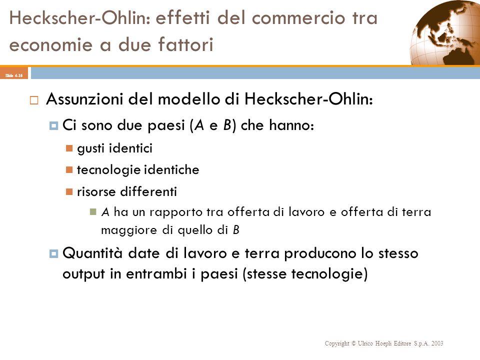 Heckscher-Ohlin: effetti del commercio tra economie a due fattori Copyright © Ulrico Hoepli Editore S.p.A. 2003 Slide 4-16 Assunzioni del modello di H