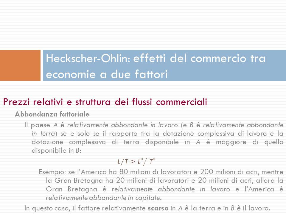 Prezzi relativi e struttura dei flussi commerciali Abbondanza fattoriale Il paese A è relativamente abbondante in lavoro (e B è relativamente abbondan